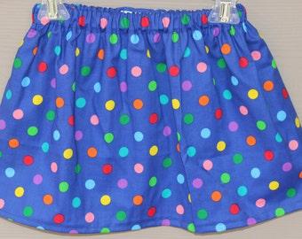 Girls Skirts Toddler Girls Blue with rainbow polka dots Skirt, Polka Dot Skirt, Blue toddler skirt, girls skirt polka dots, ready to ship