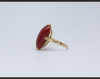 22x11mm Red Coral Art Deco Ring