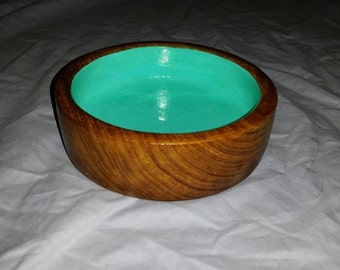 Decorative Handcrafted Wood Bowl with Teal Interior