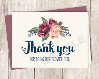 Thank You... Flower Girl Card DIY Printable / Burgundy Peony Berry Bouquet, Peach Blush Pink Ranunculus, Fall Wedding ▷ Instant Download PDF
