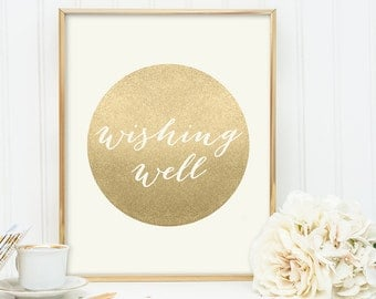 Wishing Well Sign / Gold Sparkle Wedding Sign DIY / Metallic Gold and Cream / Champagne Gold ▷ Instant Download JPEG