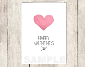 Modern Valentine's Day Card DIY / Whimsical Pink Heart, Watercolor Heart Card / Happy Valentine's Day / PRINTABLE PDF ▷ Instant Download