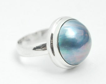 Hand Crafted Blue Pearl & Sterling Silver Ring