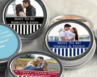 12 Mint to Be Striped Picture Photo Wedding Mint Tins - Wedding Mint Tins - Mint to Be - Tin Mints - Personalized Mints - Wedding Decor