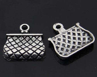 20PCS/Bulk Sale,Antique Silver Purse Charm Pendant --- Tibetan Silver Tone, Vintage Jewelry Supply ---- 22mm*22mm,  CC102-3304