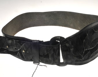 Belt leather vintage wide made in France NEW! nine! year 80