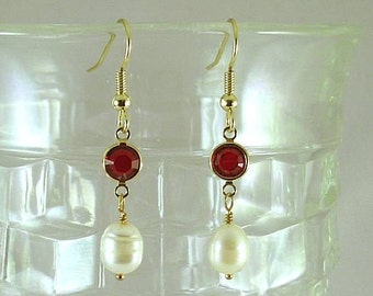 Bia Freshwater Pearls w Ruby Swarovski Crystal Earrings - Renaissance