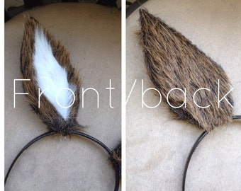 Faux Fur Headband Deer Ears; Custom made deer ears; Brown and white deer ears; Adjustable wire deer ears; Custom costume animal ears
