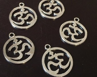 5 PC Ohm Charm-Yoga Charm-Antique Tibetan Silver Tone