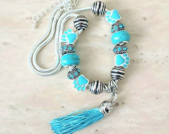 Pet Paw Charm Tassel Turquoise Silver Plated Necklace 17-19 Inches