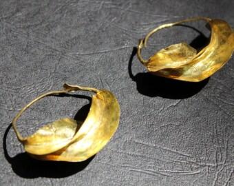 Fulani Earrings Handmade in Mali Gold plated 1 inche