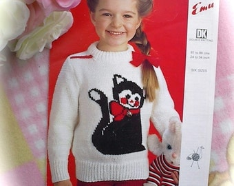 Vintage Knitting Pattern Copy For A Girl / Adult. Cat Motif Jumper 6 Sizes 24-34ins.