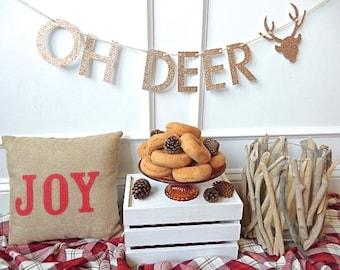 Holiday Banner - Oh Deer Banner - Christmas Decor - Christmas Garland - Holiday Decor - Holiday Party
