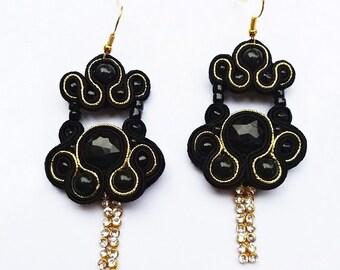 Black gold soutache earrings