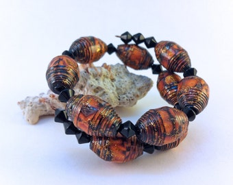 Paper Beads. Orange and Black Cuff Bracelet. Memory Wire.  Fall Colours
