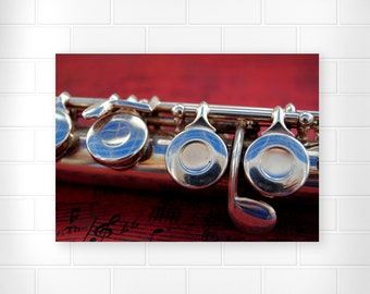 Music Student Gift - Red - Flute Instrument - Music Artwork