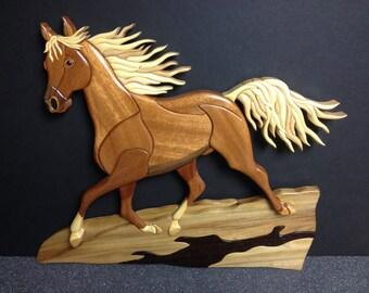 Rocky Mountain Stallion Intarsia