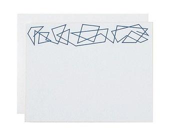 "Letterpress Stationery, Box Set, ""Zig Zag"", Navy, Edge Painted, Coral, Modern, Minimal"