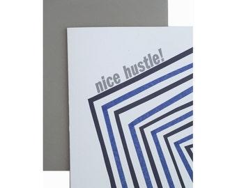 "Letterpress Congratulations Card, ""Nice Hustle!"", Modern, Geometric"