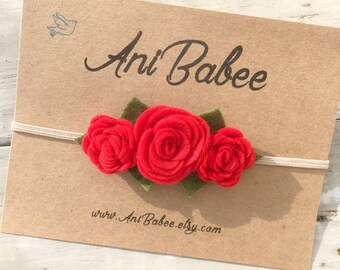 Red Felt Flower Headband, baby flower headband, Felt Flower Crown Headband, Felt Baby Headbands, Felt Flowers, Flower Headband