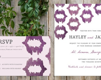 IKAT pattern customized wedding invitation