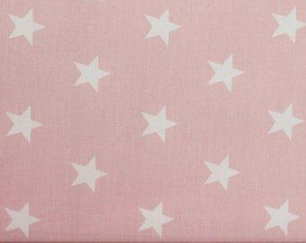 White Stars on Pink Cotton Fabric, Star Fabric - 100% Cotton, by Fat Quarter, Star Fabric