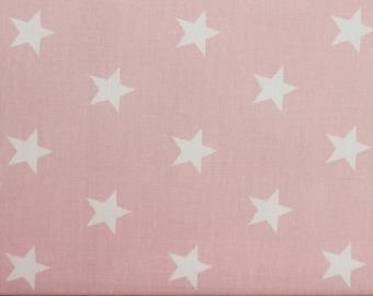 White Stars on Pink Cotton Poplin Fabric, Star Fabric - 100% Cotton, by Fat Quarter, Star Fabric