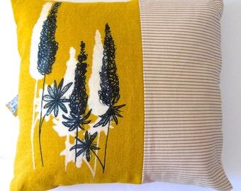 Beautiful Hand Printed Cushion, Yellow