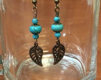 Turquoise and bronze dangle earrings