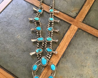 Vintage Native American Navajo Sterling Silver & Turquoise Squash Blossom Necklace
