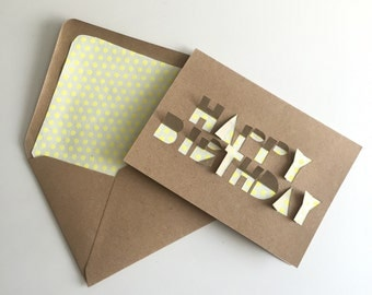 Handcut lettering Happy Birthday cards with matching lined envelope