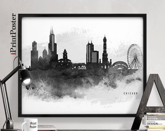 Chicago art, Chicago print, Chicago skyline, Chicago poster, Travel, Illinois,  black & white, wall art, home decor, city print iPrintPoster