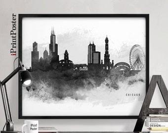 Chicago art, Chicago print, Chicago skyline, Chicago poster, Travel, Illinois,  black & white, wall art, home decor, city print iPrintPoster