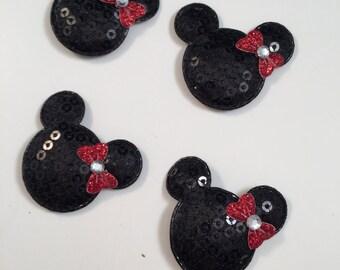 Set of 4 Black Padded Mouse Appliqués, Mouse Head, Mouse Appliqué, Padded Mouse with Bow