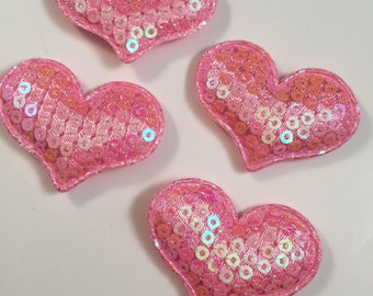 Pink Heart White Sequin Hearts, Sequin Hearts, Padded Hearts,Set of 4