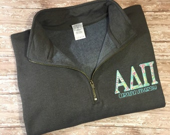 Sorority Quarter Zip Sweatshirt- Greek Letters Sweatshirt- College Sorority Pullover- Sorority 1/4 Zip up- ADPi- AOPi- DZ- Phi Mu- and more!