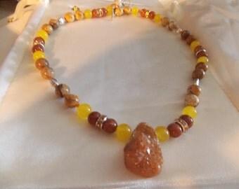 Hand made gem stone necklace  Druzy