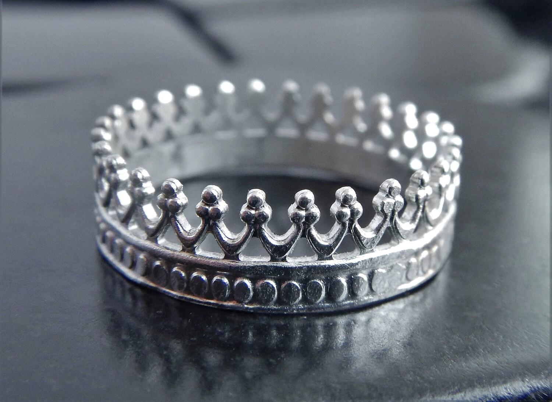 sterling silver crown ring silver filigree ring princess