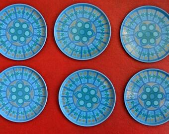 Vintage Worcester Ware Metal Drinks Coasters - Blue Floral Design
