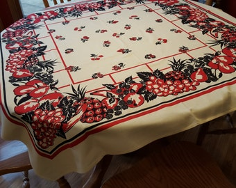 Vintage Mid Century square Tablecloth Red and Black fruit border