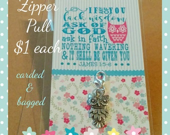 Zipper pull, Young Women's Theme 2017, If any of you lack Wisdom, LDS gift, scripture pull, keyring charm, owl charm