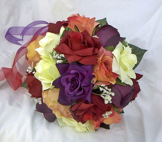 Fall bridal wedding set 3 pieces , orange , red purple and  yellow Nosegay round  bouquet