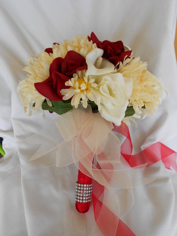 Bridal bouquet scarlet red roses aster and calla lilies made of silk  2 pc