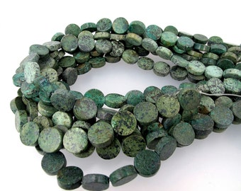 African turquoise coin beads. 12mm coin gemstone. Rustic natural beads