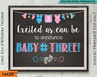 "Baby Number 3 Pregnancy Announcement, 3rd Baby #3 Expecting Third Child Prop, Chalkboard Style PRINTABLE 8x10/16x20"" Instant Download"