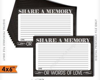 "Share a Memory Card, Share Memories, Please Leave a Memory, Memorial Card, Chalkboard Style 4x6"" Instant Download Digital Printable File"