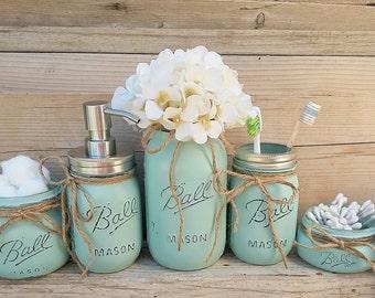 mason jar bathroom set. Mason Jar Bathroom Decor  Seafoam Set Painted Housewarming