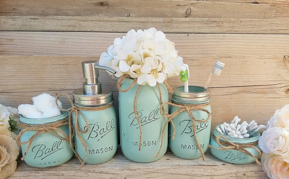 Mason jar bathroom decor seafoam bathroom set painted mason for Bathroom decor mason jars