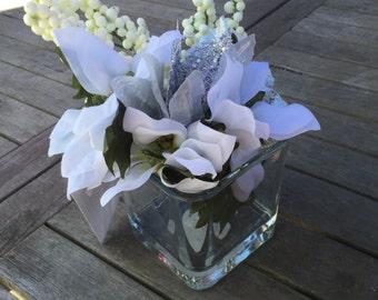 Lush Petite White Silver Christmas Poinsettia Flower Bouquet Arrangement Vase