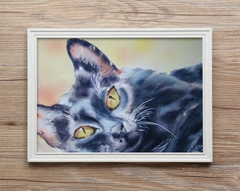 WATERCOLOR PAINTING CAT original